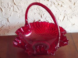 1970s Ruby Red Fenton Hobnail Basket With Handle And Embossed Fenton Mark On Bottom