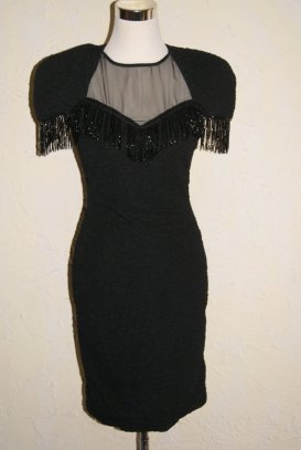 1980s BETSY and ADAM Black Beaded Crinkle Knit See Through Sheer Top Cut Out Back Detail Knee Length Size 7