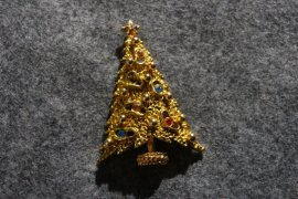 Christmas Tree Pin With Multi Colored Rhinestones By ART