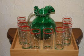 Mix And Match Lemonade Set Fenton Style Jamestown Green Pitcher With Stir Stick And 8 Polka Dot Tumblers